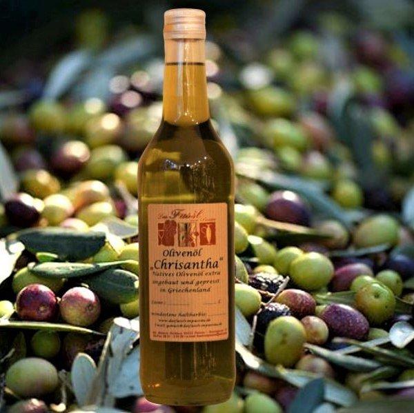 Olivenöl Chrisantha natives Olivenöl extra - Angebaut und hergestellt in Griechenland - erste Güteklasse – direkt aus Oliven ausschließlich mit mechanischen Verfahren gewonnen