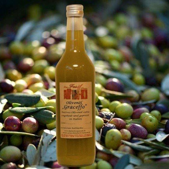 Olivenöl Graceffo natives Olivenöl extra - Angebaut und hergestellt in Italien  erste Güteklasse – direkt aus Oliven ausschließlich  mit mechanischen Verfahren gewonnen