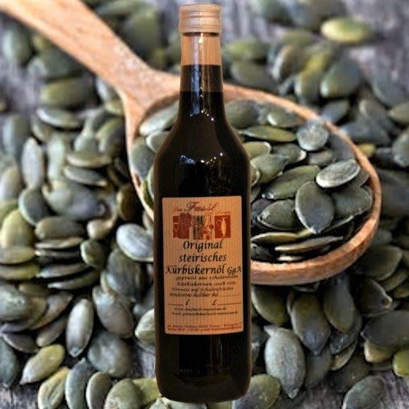 Original steirisches Kürbiskernöl g.g.A. - gepresst aus schalenlosen steirischen Kürbiskernen