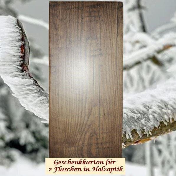 Geschenkkarton in Holzoptik für 1 oder 2 Flaschen