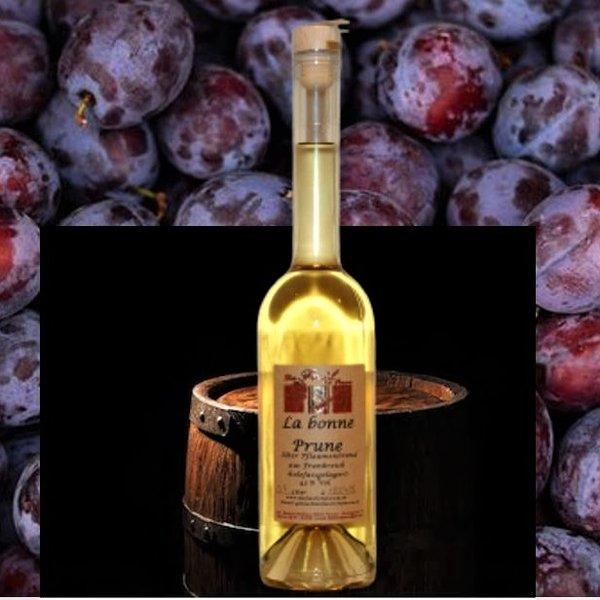 Alter Pflaumenbrand aus Frankreich - La Bonne Prune -  im Holzfass gereift 43% Vol.