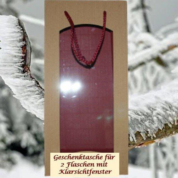 Geschenktasche mit Klarsichtfenster für 2 Flaschen